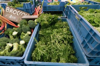 AMSTERDAM, NETHERLANDS - MAY 9: Fresh green vegetables including rucola and broccolis are pictured at the Noordermarkt (Northern Market), an organic farmers' market, held at the foot of the Noorderkerk (Northern Church) on May 9, 2020 in Amsterdam, Netherlands. (Photo by Yuriko Nakao/Getty Images)