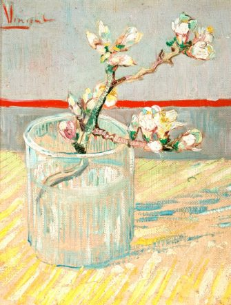 'Sprig of Flowering Almond Blossom in a Glass', 1888. From the Van Gogh Museum, Amsterdam. (Photo by Art Media/Print Collector/Getty Images)