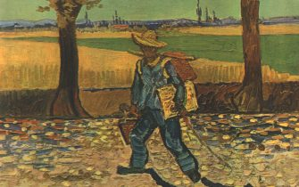 """'The Painter On His Way To Work, Or The Road To Tarascon', August 1888, (1947). Self-portrait, also known as 'The Painter on the Road to Tarascon', believed to have been destroyed in fire from the Allied bombings of Magdeburg, Germany, during World War II. From """"Vincent Van Gogh"""", by Ludwig Goldscheider and Wilhelm Uhde. [Phaidon Press Ltd, Oxford and London, 1947]"""