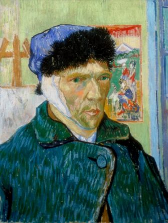 'Self-Portrait with Bandaged Ear', 1889. Vincent van Gogh (1853-1890) painted this self-portrait after a quarrel with fellow artist Paul Gauguin (1848-1903) at Arles during which he threatened Gauguin with a razor. In remorse, he cut off part of his own ear. From the collection of the Courtauld Institute, London. (Photo by Art Media/Print Collector/Getty Images)