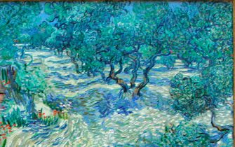 """(FILES) File image taken April 23, 2009 shows a visitor looking at the painting """"Olive Trees"""" (Saint-Remy, June/July 1889) by Dutch artist Vincent van Gogh at the Kunstmuseum in Basel, Switzerland.  It was revealed by a Kansas City art museum on November 7, 2017 that when conservators at The Nelson-Atkins Museum of Art put this Vincent van Gogh painting under the microscope, they found an unlikely intruder: a grasshopper trapped in the canvas's painterly whirls for 128 years. Mary Schafer, a conservator at The Nelson-Atkins Museum of Art, came across the tiny dried, brown carcass in the lower foreground while studying the painting of olive groves. The find reflects the artist's practice of painting in the outdoors, where it was often windy enough to send dust, grass and insects flying.  / AFP PHOTO / NICHOLAS RATZENBOECK / TO GO WITH AFP STORY by Olivia Hampton """"There is a dead bug in the Van Gogh.""""        (Photo credit should read NICHOLAS RATZENBOECK/AFP via Getty Images)"""