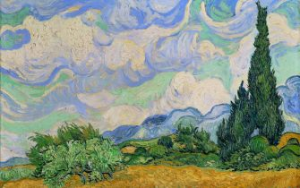 UNSPECIFIED - JANUARY 01:  Wheatfield and cypress trees. Painted while Van Gogh was at the asylum of Saint-Paul-de-Mausole, Saint-Remy-de-Provence. Oil on canvas (1889). 73 x 93,5 cm.  (Photo by Imagno/Getty Images) [Weizenfeld mit Zypresse. Gemaelde. 1889]