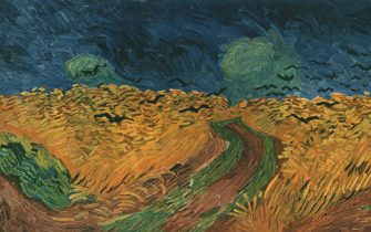"""'Wheatfield with Crows', July 1890, (1947). Countryside at Auvers-sur-Oise in northern France. Painting in the Van Gogh Museum, Amsterdam. From """"Vincent Van Gogh"""", by Ludwig Goldscheider and Wilhelm Uhde. [Phaidon Press Ltd, Oxford and London, 1947]"""