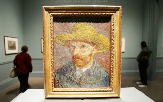 """NEW YORK - OCTOBER 11:  Vincent Van Gogh's painting """"Self Portrait with a Straw Hat"""" is displayed at the exhibit """"Vincent Van Gogh: The Drawings"""" during a press previewat the Metropolitan Museum of Art October 11, 2005 in New York City. The major exhibition is the first in the U.S. to focus on Van Gogh's drawings and will be open to the public October 18 through December 31, 2005.  (Photo by Mario Tama/Getty Images)"""