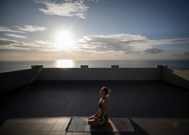 SYDNEY, AUSTRALIA - APRIL 24: Australian Olympic Swimmer Bronte Campbell practices Yoga in isolation at her home on April 24, 2020 in Sydney, Australia. Athletes across the country are now training in isolation under strict policies in place due to the Covid-19 pandemic. (Photo by Ryan Pierse/Getty Images)