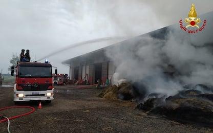 Incendio in un capannone agricolo dell'Oltrepò Pavese: nessun ferito