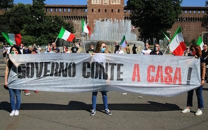 Milano, manifestazione CasaPound contro il Governo Conte