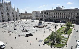 Una panoramica mostra il nuovo look di Piazza Duomo, Milano, 3 Luglio 2014. ANSA/ UFFICIO STAMPA/ COMUNE DI MILANO