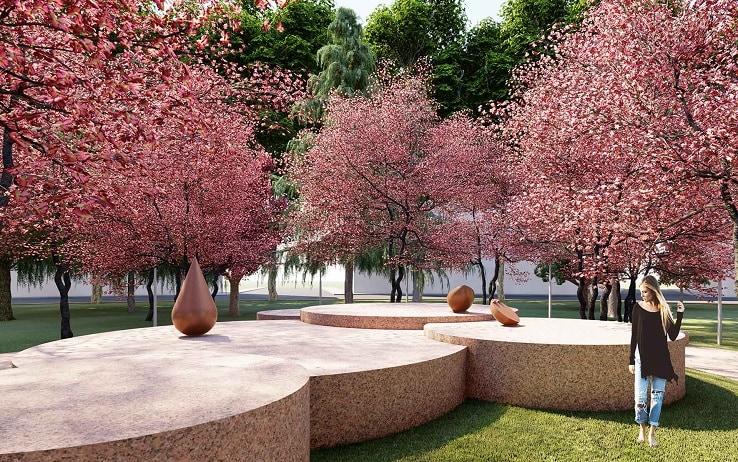 Il giardino zen Teresa Pomodoro in piazza Piola a Milano