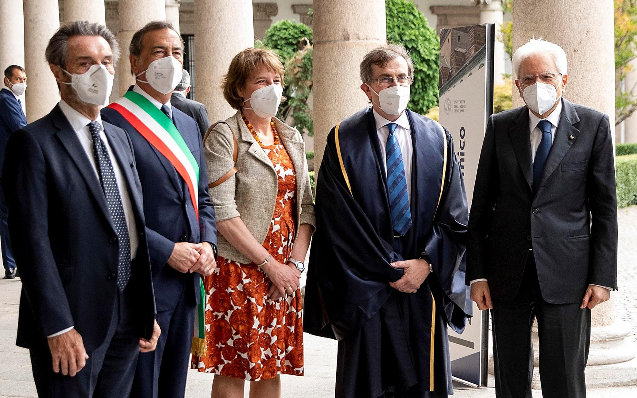 Il presidente della Repubblica, Sergio Mattarella, all'inaugurazione dell'anno accademico 2020-2021 dell'Università Statale di Milano
