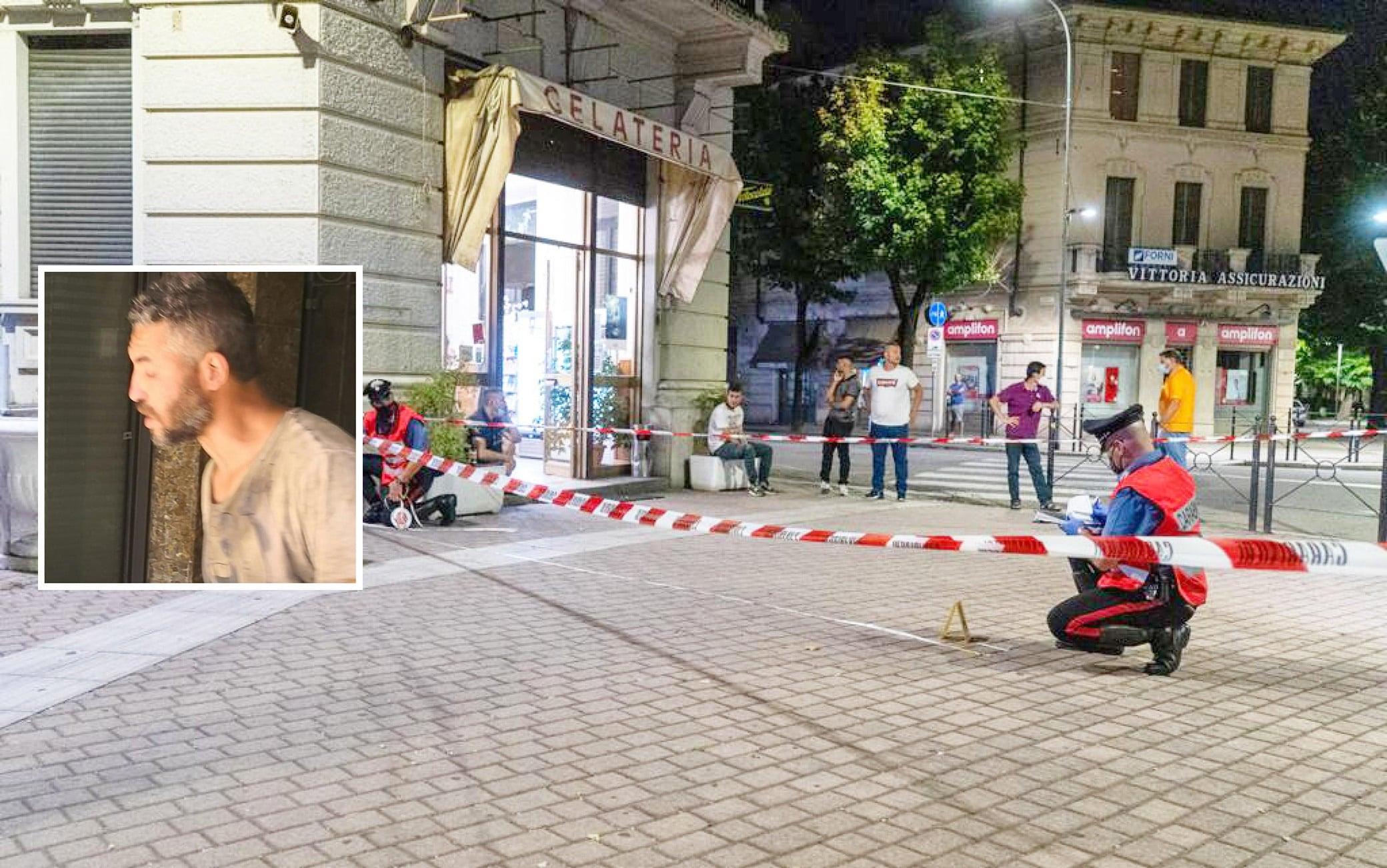 Piazza Meardi, il luogo in cui l'assessore alla sicurezza Massimo Adriatici ha sparato ad un uomo davanti al bar Ligure uccidendolo, Voghera, 21 Luglio 2021. ANSA/PAOLO TORRES