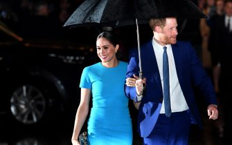 epa09055931 (FILE) - Britain's Harry (R) and Meghan (L), Duke and Duchess of Sussex attend the annual Endeavour Fund Awards at Mansion House in London, Britain, 05 March 2020 (reissued 06 March 2021). US channel CBS will air an interview with Britain's Harry and Meghan, Duke and Duchess of Sussex on Sunday, 07 March.  EPA/NEIL HALL *** Local Caption *** 55931174