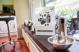 BERLIN, GERMANY - MAY 04:  A disinfectant gel stands at a hair salon that opened today for the first time since March during the novel coronavirus (Covid-19) crisis on May 4, 2020 in Berlin, Germany. Barber shops and hair salons are reopening this week nationwide as authorities carefully lift lockdown measures that had been imposed to stem the spread of the virus. (Photo by Maja Hitij/Getty Images)