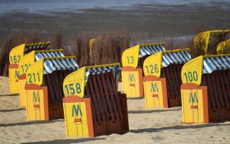 CUXHAVEN, GERMANY - MAY 06: Beach chairs stand ready for vacationers at Duhne beach during the coronavirus crisis on May 6, 2020 near Cuxhaven, Germany. German states that contain popular holiday destinations and that are economically dependant on tourism, including Lower Saxony, Mecklenburg-Western Pomerania, Schleswig-Holstein and Bavaria, have announced an easing of lockdown measures in order to let hotels, restaurants and beaches reopen for visitors in coming weeks. (Photo by Stuart Franklin/Getty Images)
