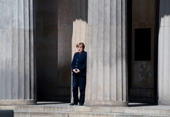 BERLIN, GERMANY - MAY 08: German Chancellor Angela Merkel attends wreath laying ceremony to mark the 75th anniversary of the end of World War Two at the Neue Wache Memorial on May 8, 2020 in Berlin, Germany. Small ceremonies are taking place across Berlin today to mark the anniversary after large ceremonies were cancelled due to lockdown measures to contain the spread of the virus. (Photo by Filip Singer - Pool/Getty Images)
