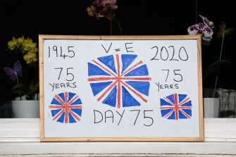 SALTBURN BY THE SEA, UNITED KINGDOM - MAY 08: Home made posters are displayed in windows during celebrations for the 75th anniversary of VE Day on May 08, 2020 in Saltburn By The Sea, United Kingdom. The UK commemorates the 75th Anniversary of Victory in Europe Day (VE Day) with a pared-back rota of events due to the coronavirus lockdown. On May 8th, 1945 the Allied Forces of World War II celebrated the formal acceptance of surrender of Nazi Germany. (Photo by Ian Forsyth/Getty Images)