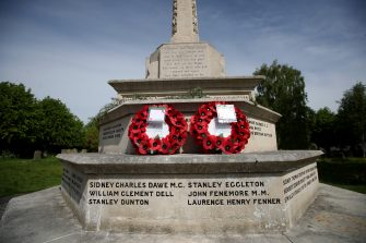 TRING, ENGLAND - MAY 08: A detailed view of poppy wreaths on a war memorial at Saint Peter and St Paul Church on May 08, 2020 in Tring, United Kingdom.The UK commemorates the 75th Anniversary of Victory in Europe Day (VE Day) with a pared-back rota of events due to the coronavirus lockdown. On May 8th, 1945 the Allied Forces of World War II celebrated the formal acceptance of surrender of Nazi Germany. (Photo by Alex Pantling/Getty Images)