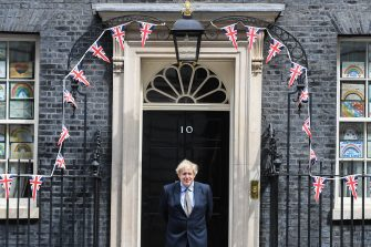 LONDON, ENGLAND  - MAY 08: British Prime Minister Boris Johnson is seen outside Number 10 Downing Street on May 8, 2020 in London, United Kingdom.The UK commemorates the 75th Anniversary of Victory in Europe Day (VE Day) with a pared-back rota of events due to the coronavirus lockdown. On May 8th, 1945 the Allied Forces of World War II celebrated the formal acceptance of surrender of Nazi Germany. (Photo by Peter Summers/Getty Images)