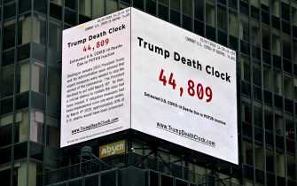 NEW YORK, NEW YORK - MAY 08: A Trump Death Clock which calculates the portion of U.S. COVID-19 deaths caused by President Trump's delayed response to the coronavirus pandemic was unveiled by Eugene Jarecki in Times Square during the coronavirus pandemic on May 08, 2020 in New York City. COVID-19 has spread to most countries around the world, claiming over 271,000 lives and infecting nearly 4 million people. (Photo by Dia Dipasupil/Getty Images)