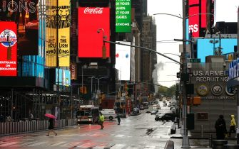NEW YORK, NEW YORK - MAY 08: Time Square is seen as daily life continues amid the coronavirus outbreak on May 08 2020 in New York City. COVID-19 has spread to most countries around the world, claiming over 275,000 lives and infecting over 4 million people. (Photo by John Lamparski/Getty Images)