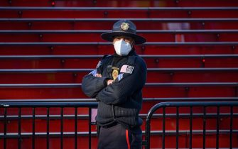NEW YORK, NEW YORK - MAY 07: A public safety Sergeant is seen next to the Red Steps in Times Square during the coronavirus pandemic on May 7, 2020 in New York City. COVID-19 has spread to most countries around the world, claiming over 270,000 lives with over 3.9 million infections reported. (Photo by Noam Galai/Getty Images)