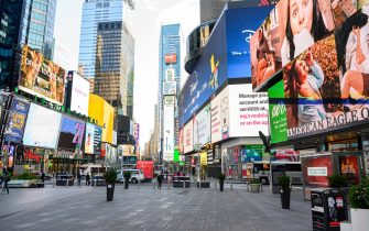 NEW YORK, NEW YORK - MAY 07: A view of Times Square during the coronavirus pandemic on May 7, 2020 in New York City. COVID-19 has spread to most countries around the world, claiming over 270,000 lives with over 3.9 million infections reported. (Photo by Noam Galai/Getty Images)