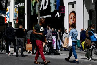 Illustration picture shows  the Meir shopping street in the city center of Antwerp, Monday 11 May 2020. Belgium goes into its ninth week of confinement. Stage 1B of the deconfinement plan in the ongoing corona virus crisis starts. All shops can reopen and more people can return to work. BELGA PHOTO DIRK WAEM (Photo by DIRK WAEM/BELGA MAG/AFP via Getty Images)