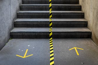 Illustration picture shows visuals on the floor to respect social distances in the Meir shopping street in the city center of Antwerp, Monday 11 May 2020. Belgium goes into its ninth week of confinement. Stage 1B of the deconfinement plan in the ongoing corona virus crisis starts. All shops can reopen and more people can return to work. BELGA PHOTO DIRK WAEM (Photo by DIRK WAEM/BELGA MAG/AFP via Getty Images)