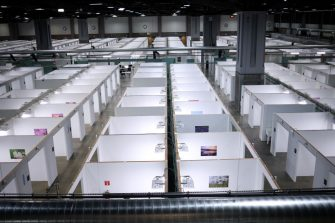 WASHINGTON, DC - MAY 11:  Featuring 437 beds for coronavirus patients, a new field hospital built by the U.S. Army Corps of Engineers and members of the National Guard is shown inside the Walter E. Washington Convention Center May 11, 2020 in Washington, DC. The field hospital is a part of the cityâ  s medical surge response plan as an alternate care site to assist hospitals in treating COVID-19 patients if the capacity of local hospitals is overburdened. (Photo by Win McNamee/Getty Images)