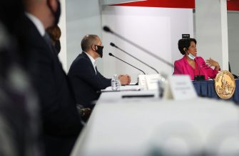 WASHINGTON, DC - MAY 11:  Washington DC Mayor Muriel Bowser introduces a new field hospital that features 437 beds for coronavirus patients, built by the U.S. Army Corps of Engineers and members of the National Guard at a press conference inside the Walter E. Washington Convention Center May 11, 2020 in Washington, DC. The field hospital is a part of the cityâ  s medical surge response plan as an alternate care site to assist hospitals in treating COVID-19 patients if the capacity of local hospitals is overburdened. (Photo by Win McNamee/Getty Images)