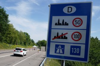 RASTATT, GERMANY - MAY 08: General view at the D87 road at the German-French border during the coronavirus crisis on May 8, 2020 near Rastatt, Germany. The rates of new infections in both Germany and France, as in much of the European Union, have fallen dramatically over recent weeks, allowing governments to ease lockdown measures and strengthening demands by both business leaders and local communities to reopen international borders. In Germany so far Interior Minister Horst Seehofer is resisting a fast-paced lifting of border closures. (Photo by Thomas Niedermueller/Getty Images)