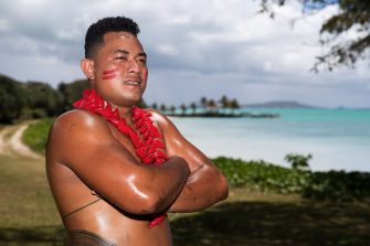 APIA, SAMOA - OCTOBER 12:  Samoan performer Nifo Tuitamai poses after performing at the Sheraton Samoa Beach Resort before departing on a Royal Australian Air Force flight to Sydney from Faleolo International Airport on October 12, 2019 in Apia, Samoa. The Australian Defence Force is picking up performers from the Pacific Islands to travel to Sydney to participate in the Royal Edinburgh Military Tattoo. The Sydney production will be the largest Tattoo in its 69-year history with 1521 pipers, drummers, dancers, military musicians and performers taking part. The Royal Edinburgh Military Tattoo runs from 17-19 October in Sydney.  (Photo by Mark Kolbe/Getty Images) (Photo by Mark Kolbe/Getty Images)
