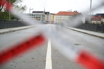 BAD FUESSING, GERMANY - MAY 14: A temporarily closed border crossings point between Bavaria/Germany and Austria is pictured at Simbach am Inn near Bad Fuessing during the novel coronavirus crisis on May 14, 2020 near Bad Fuessing, Germany. Germany has announced a timetable for relaxing border restrictions that have been in effect since March as part of measures meant stem the spread of the virus. The timetable includes fully opening the border to Luxembourg starting May 16 and the borders to Austria, France and Switzerland by June 15. Until then every car will no longer be checked as is currently the practice, where only drivers with an adequate reason, such as commuting to work, are allowed to cross. Commercial and tourism interests have been pleading for a reopening of the borders. (Photo by Alexander Hassenstein/Getty Images)