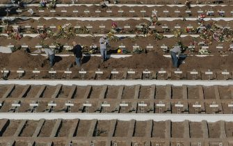 TOPSHOT - Aerial view of graves already dug at the General Cemetery in Santiago May 14, 2020, amid the new coronavirus pandemic. - Health authorities ordered the General Cemetery of Santiago to enable over 1,700 graves under the possibility of an increase in deaths from COVID-19. (Photo by MARTIN BERNETTI / AFP) (Photo by MARTIN BERNETTI/AFP via Getty Images)
