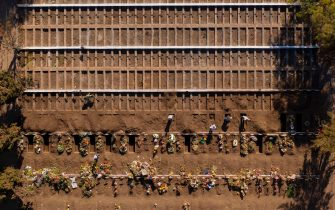 Aerial view of graves already dug at the General Cemetery in Santiago May 14, 2020, amid the new coronavirus pandemic. - Health authorities ordered the General Cemetery of Santiago to enable over 1,700 graves under the possibility of an increase in deaths from COVID-19. (Photo by MARTIN BERNETTI / AFP) (Photo by MARTIN BERNETTI/AFP via Getty Images)