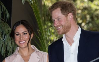 Image licensed to i-Images Picture Agency. 02/10/2019. Johannesburg, South Africa. Prince Harry and Meghan Markle, the Duke and Duchess of Sussex, at a business reception at the British High Commissioner's Residence in  Johannesburg, South Africa, on the final day of their Royal Tour.  Picture by Stephen Lock / i-Images