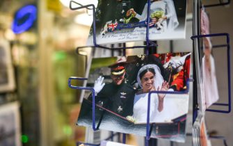 LONDON, ENGLAND - JANUARY 14: Prince Harry and Meghan Markle merchandise is seen on sale on January 14, 2020 in London, England. The Duke and Duchess of Sussex have announced that they are to step back from their senior Royal roles and are planning on splitting their time between the United Kingdom and North America. (Photo by Peter Summers/Getty Images)