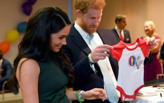LONDON, ENGLAND - OCTOBER 15: Prince Harry, Duke of Sussex and Meghan, Duchess of Sussex view a gift for their son Archie as they attend the WellChild awards at Royal Lancaster Hotel on October 15, 2019 in London, England. (Photo by Toby Melville - WPA Pool/Getty Images)