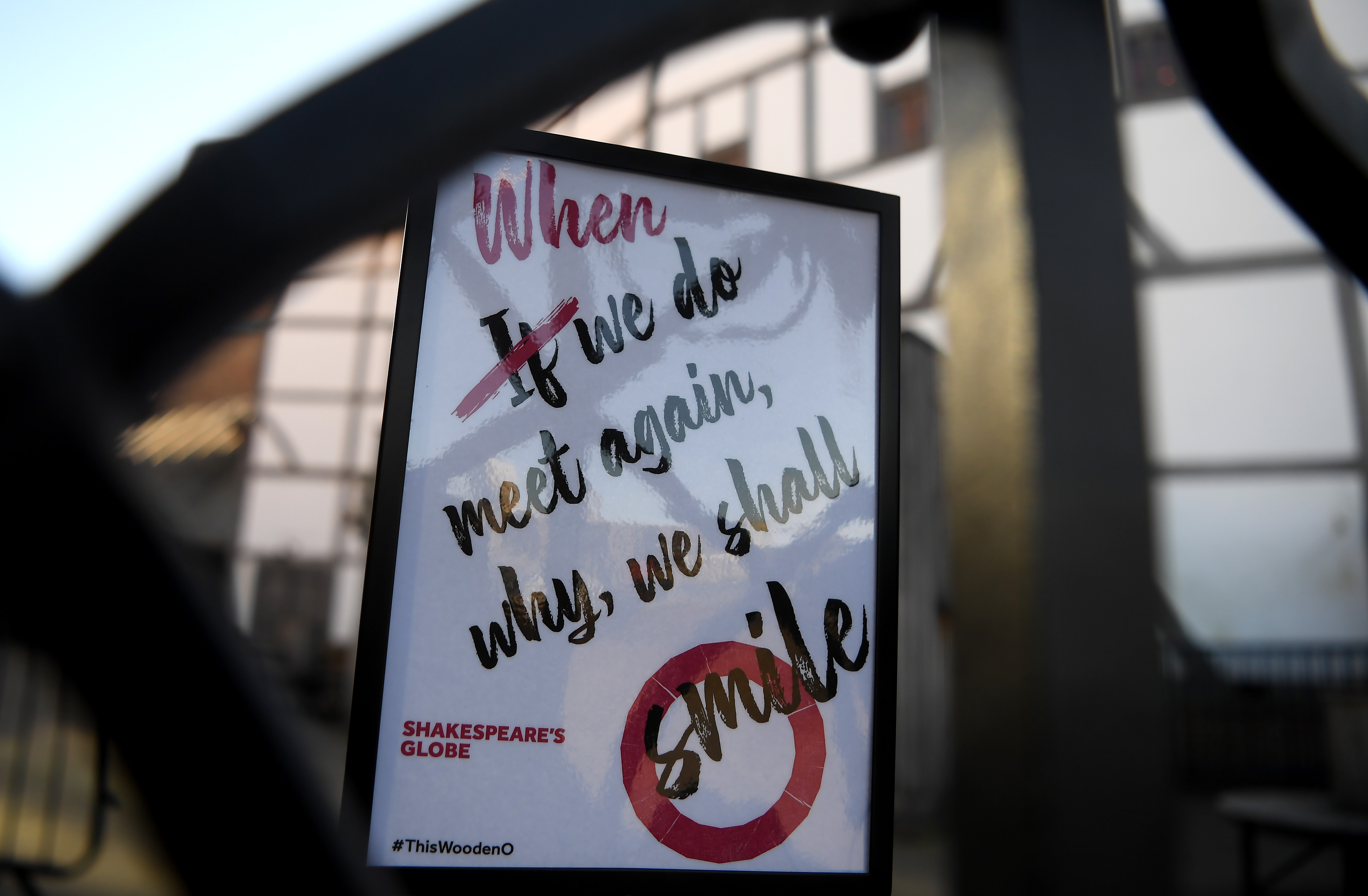 LONDON, ENGLAND - MARCH 22:  A sign is seen outside the Globe Theatre on March 22, 2020 in London, England. Coronavirus (COVID-19) has spread to at least 188 countries, claiming over 13,000 lives and infecting more than 300,000 people. There have now been 5,018 diagnosed cases in the UK and 233 deaths. (Photo by Alex Davidson/Getty Images)