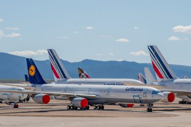 TERUEL, SPAIN - MAY 18: An Airbus A340 passenger aircraft operated by Lufthansa stand next to Air France aircraft parked in a storage facility operated by TARMAC Aerosave at Teruel Airport on May 18, 2020 in Teruel, Spain. The airport, which is used for aircraft maintenance and storage, has received increased demand as the Covid-19 pandemic forces the world's major carriers to ground planes. (Photo by David Ramos/Getty Images)