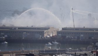 epa08439997 More than 100 San Francisco Firefighters battle a four-alarm fire on Pier 45 on Fisherman's Wharf in San Francisco, California, USA, 23 May 2020.  EPA/JOHN G. MABANGLO