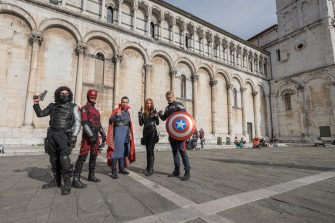 LUCCA, ITALY - NOVEMBER 02:  Cosplayers dressed as The Winter Soldier, Daredevil, Dr Strange, Black Widow and Captain America pose during the opening of the Lucca Comics and Games Heroes on November 2, 2017 in Lucca, Italy.  (Photo by Awakening/Getty Images)