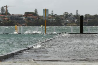 PERTH, AUSTRALIA - MAY 25: The Point Walter jetty is seen submerged on May 25, 2020 in Perth, Australia. Ex-Tropical Cyclone Mangga has brought heavy wind, rain and waves along Western Australia's coastline after combining with other cold fronts to create unprecedented storm conditions. State Emergency Services have answered hundreds of calls for help with structural and roof damage since Sunday while thousands of homes and businesses have been left without power.  (Photo by Paul Kane/Getty Images)