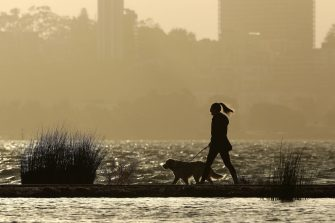 PERTH, AUSTRALIA - MAY 25: A lady walks her dog during a break in the weather along the Swan River on May 25, 2020 in Perth, Australia. Ex-Tropical Cyclone Mangga has brought heavy wind, rain and waves along Western Australia's coastline after combining with other cold fronts to create unprecedented storm conditions. State Emergency Services have answered hundreds of calls for help with structural and roof damage since Sunday while thousands of homes and businesses have been left without power.  (Photo by Paul Kane/Getty Images)