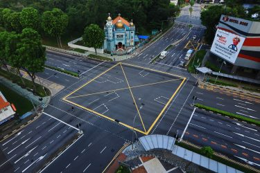 SINGAPORE - MAY 26:  The Malabar mosque is pictured along an unusually quiet road on May 26, 2020 in Singapore. Singapore is set to ease the partial lockdown measures against the coronavirus (COVID-19) pandemic after 1 June in three phases to resume activities safely after it sees a decline in the new infection cases in the community. Singapore's gross domestic product (GDP) is expected to shrink as much as 7 percent this year as the country battles the slump in global trade and travel amid the coronavirus pandemic, according to the government report in the local media today. (Photo by Suhaimi Abdullah/Getty Images)