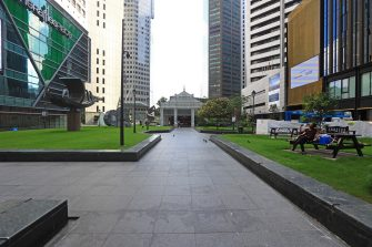 SINGAPORE - MAY 26:  A general view of an unusually quiet Raffles Place central business district on May 26, 2020 in Singapore. Singapore is set to ease the partial lockdown measures against the coronavirus (COVID-19) pandemic after 1 June in three phases to resume activities safely after it sees a decline in the new infection cases in the community. Singapore's gross domestic product (GDP) is expected to shrink as much as 7 percent this year as the country battles the slump in global trade and travel amid the coronavirus pandemic, according to the government report in the local media today.  (Photo by Suhaimi Abdullah/Getty Images)