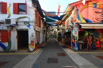 SINGAPORE - MAY 26:  A general view of an unusually quiet tourist attraction at Haji Lane on May 26, 2020 in Singapore. Singapore is set to ease the partial lockdown measures against the coronavirus (COVID-19) pandemic after 1 June in three phases to resume activities safely after it sees a decline in the new infection cases in the community. Singapore's gross domestic product (GDP) is expected to shrink as much as 7 percent this year as the country battles the slump in global trade and travel amid the coronavirus pandemic, according to the government report in the local media today.  (Photo by Suhaimi Abdullah/Getty Images)