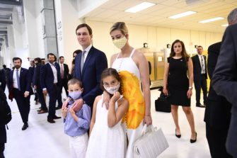 Senior Advisors to the President Jared Kushner and Ivanka Trump, with their children, arrive at the Kennedy Space Center in Florida on May 27, 2020. - US President Donald Trump travels to Florida to see the historic first manned launch of the SpaceX Falcon 9 rocket with the Crew Dragon spacecraft, the first to launch from Cape Canaveral since the end of the space shuttle program in 2011. (Photo by Brendan Smialowski / AFP) (Photo by BRENDAN SMIALOWSKI/AFP via Getty Images)