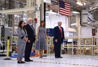 (L-R) Karen Pence, US Vice President Mike Pence, First Lady Melania Trump and US President Donald Trump arrive at the Kennedy Space Center in Florida on May 27, 2020. - US President Donald Trump travels to Florida to see the historic first manned launch of the SpaceX Falcon 9 rocket with the Crew Dragon spacecraft, the first to launch from Cape Canaveral since the end of the space shuttle program in 2011. (Photo by Brendan Smialowski / AFP) (Photo by BRENDAN SMIALOWSKI/AFP via Getty Images)