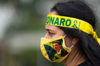 BRASILIA, BRAZIL - May 09: Supporters Brazilian President Jair Bolsonaro during motorcade and protest against the National Congress and the Supreme Court amidst on the coronavirus (COVID-19) pandemic in front the National Congress on May 09, 2020 in Brasilia. Brazil has over 145,000 confirmed positive cases of Coronavirus and 9,897 deaths. (Photo by Andressa Anholete/Getty Images)